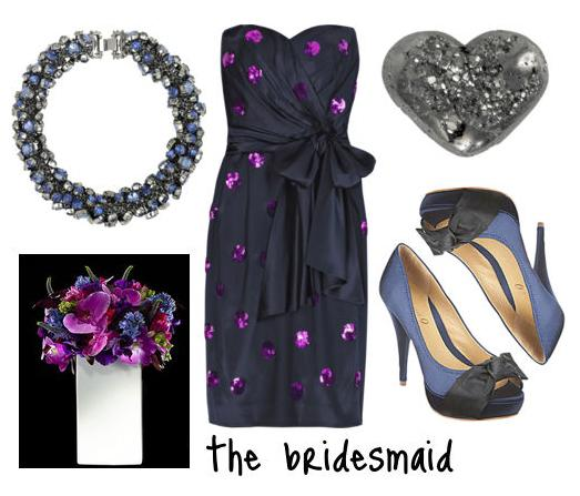 navy purple black silver bridesmaid look