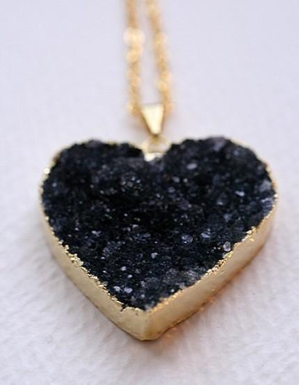 jasper druzy heart necklace